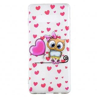 Silikon Case für Samsung Galaxy S10 Plus TPU Transparent Muster Eule Owl Herz