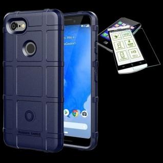 Für Google Pixel 3 XL Tasche Shield TPU Silikon Hülle Blau + 0, 26 H9 Glas Cover