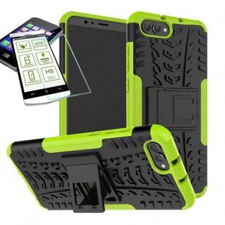 Für Huawei Honor 10 Hybrid Case Tasche Outdoor 2teilig Grün + H9 Glas Hülle Etui