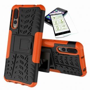 Für Huawei P20 Pro Hybrid Case Tasche Outdoor 2teilig Orange Hülle + H9 Glas Neu