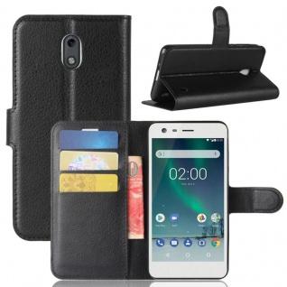 Tasche Wallet Premium Schwarz für Nokia 2 Schutz Zubehör Hülle Case Cover Neu