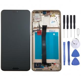 Für Huawei P20 Display Full LCD Touch mit Rahmen Reparatur Gold Ersatzteil Neu