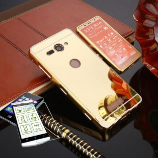 Alu Bumper 2 teilig Gold + 0, 3 H9 Glas für Sony Xperia XZ2 Compact Tasche Hülle