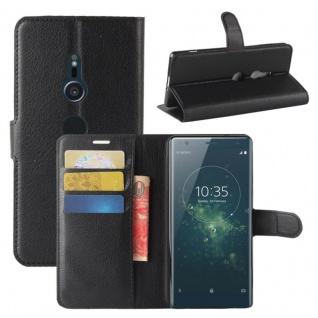 Tasche Wallet Premium Schwarz für Sony Xperia XZ2 Hülle Case Cover Schutz Etui