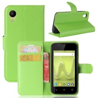 Tasche Wallet Premium Grün für Wiko Sunny 2 Hülle Case Cover Etui Schutz Zubehör