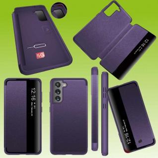 Für Samsung Galaxy S21 FE View Handy Tasche Lila Etuis Kunst-Leder Hülle Case