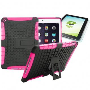 Hybrid Outdoor Schutzhülle Pink für iPad Air 2 Tasche + 0.4 H9 mm Panzerglas Neu