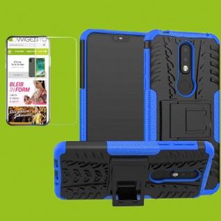 Für Nokia 7.1 5.84 Zoll Hybrid Tasche Outdoor 2teilig Blau Hülle + H9 Glas Cover