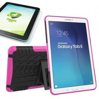 Hybrid Outdoor Tasche Pink für Samsung Galaxy Tab E 9.6 T560 + 0.4 Hartglas