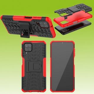 Für Samsung Galaxy A12 A125F Hybrid Case Outdoor Rot Handy Tasche Etuis Hülle