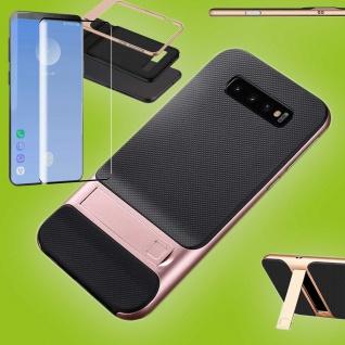 Standing Hybrid Tasche Rosa Etui für Samsung Galaxy S10 Plus + 4D H9 Curved Glas