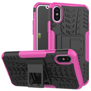New Hybrid Case 2teilig Outdoor Pink für Apple iPhone XS MAX 6.5 Tasche Hülle