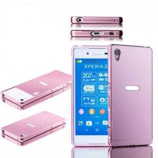 Alu Bumper 2 teilig Abdeckung Rosa für Sony Xperia Z3 Plus E6553 Dual Tasche Neu