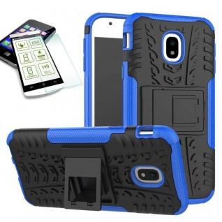 Hybrid Case Tasche 2teilig Blau für Samsung Galaxy J3 2017 J330F + H9 Hartglas
