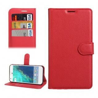 Bookcover Tasche Wallet Design für Google Pixel 5.0 Schutzhülle Hülle Etui Rot