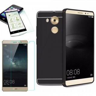Alu Bumper 2 teilig Schwarz + 0, 3 mm H9 Hartglas für Huawei Mate 8 Tasche Case