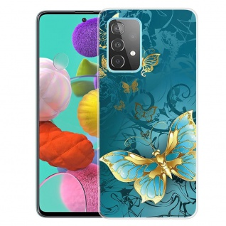 Für Samsung Galaxy A52 Silikon Case TPU Motiv Big Butterfly Schutz Hülle Cover