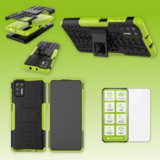Für Motorola Moto G9 Plus Handy Tasche Cover Hülle Etuis Grün Case + H9 Glas Neu