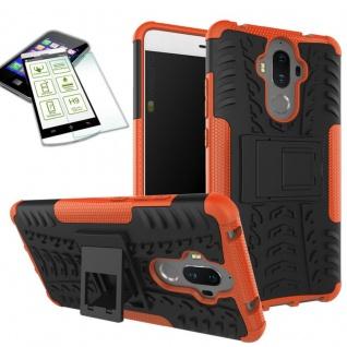 Hybrid Case Tasche Outdoor 2teilig Orange für Huawei Mate 9 + Hartglas Cover