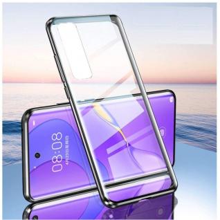 Beidseitige Magnet Glas Bumper Handy Tasche Schwarz für Samsung Galaxy S21 Plus