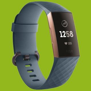 Für Fitbit Charge 3 Kunststoff Silikon Armband für Männer Größe L Cyan-Blau Uhr