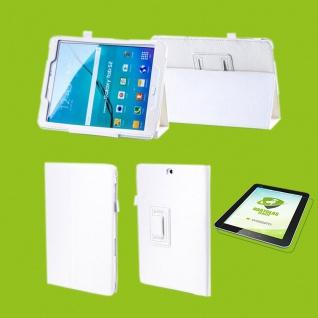 Für Samsung Galaxy Tab S5e 10.5 T720F Weiß Etuis Tasche Kunst Leder + H9 Glas