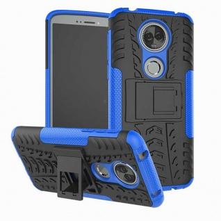 Für Motorola Moto E5 Plus Hybrid Case 2teilig Outdoor Blau Etui Tasche Hülle Neu