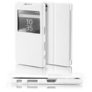 Booktasche Window Weiß für Sony Xperia Z5 5.2 Zoll Tasche Cover Hülle Case Neu