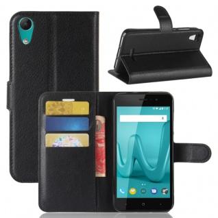 Tasche Wallet Premium Schwarz für Wiko Lenny 4 Hülle Case Cover Etui Schutz Neu