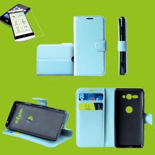 Für Samsung Galaxy A50 6.4 Zoll Tasche Wallet Blau Hülle Etuis + H9 Hart Glas