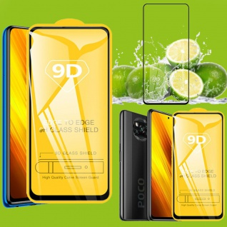 Für Xiaomi Poco X3 3D Display Full H9 Hart Glas Schwarz Folie Tempered Panzer