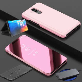 Für Huawei P30 Clear View Smart Cover Pink Etuis Tasche Hülle Wake UP Case Neu