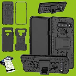 Für LG V40 ThinQ Hybrid Tasche Hülle Cover Outdoor 2teilig Schwarz + H9 Glas