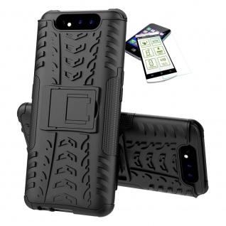 Für Samsung Galaxy A80 Hybrid Tasche Outdoor 2teilig Schwarz + H9 Glas Panzer - Vorschau 2
