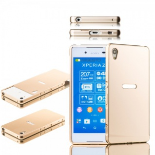 Alu Bumper 2 teilig Abdeckung Gold für Sony Xperia Z3 Plus E6553 Dual Tasche Neu