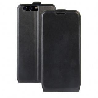 Flip Tasche Schwarz für Huawei P10 Hülle Schutz Case Etui Backcover Zubehör Neu