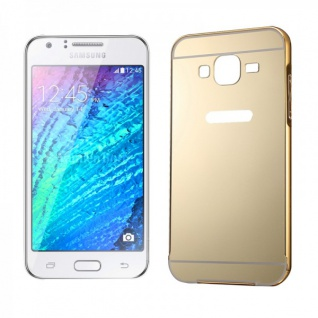 Alu Bumper 2 teilig Abdeckung Gold für Samsung Galaxy J1 Hülle Case Tasche