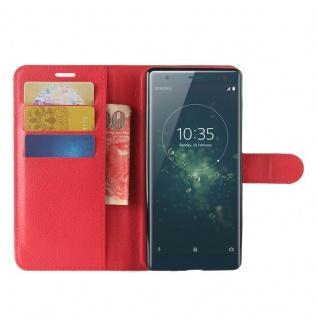Tasche Wallet Premium Rot für Sony Xperia XZ2 Hülle Case Cover Schutz Etui Neu - Vorschau 4