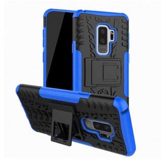 Hybrid Case 2teilig Outdoor Blau Tasche Hülle für Samsung Galaxy S9 Plus G965F