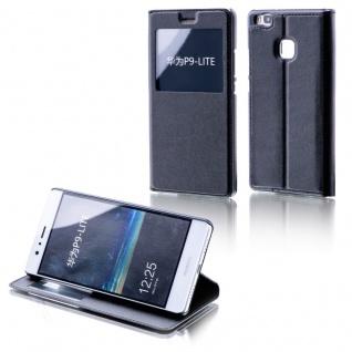 Booktasche Flip Window Schwarz für Huawei P9 Lite Tasche Smart Cover Hülle Neu