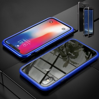 Für Samsung Galaxy A20e A202F Magnet / Metall Glas Blau Transparent Tasche Case