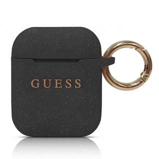 Guess Apple Airpods Silicon Cover Ring Schwarz Schutzhülle Tasche Case Halterung