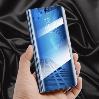 Für Huawei Y5 2018 Clear View Smart Cover Blau Tasche Hülle Etui Wake UP Case