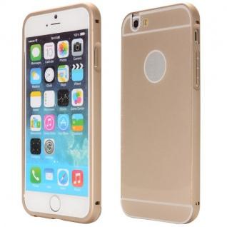 Alu Bumper 2 teilig mit Abdeckung Gold für Apple iPhone 6 Plus Tasche Hülle Case