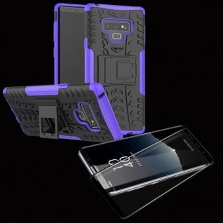 Hybrid Case Tasche 2teilig Lila für Samsung Galaxy Note 9 N960 + 4D Glas Schwarz