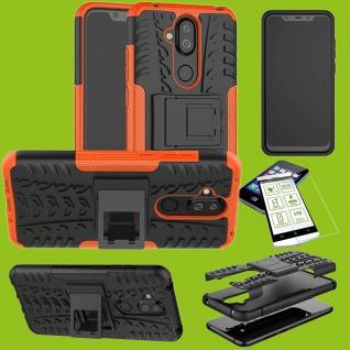 Für Nokia 3.1 Plus 6.0 Etui Hybrid Tasche Outdoor 2teilig Orange Hülle + H9 Glas