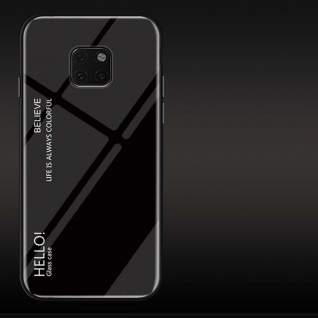 Für Huawei Mate 20 Pro Color Rainbow Effekt Glas Cover Schwarz Tasche Hülle Neu