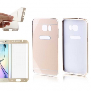Alu Bumper 2 teilig Gold + Panzerfolie Case für Samsung Galaxy S7 Edge G935F Neu