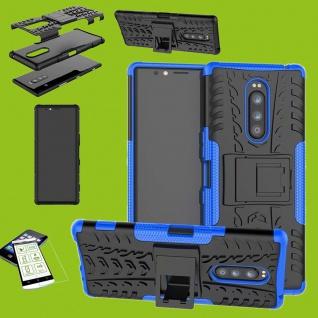 Für Sony Xperia 1 6.5 Zoll Hybrid Case Blau Hülle + 0, 3 mm H9 Glas Tasche Etuis