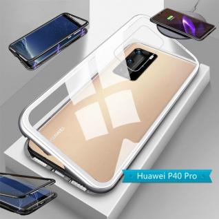 Für Huawei P40 Pro Magnet Metall Glas Silber Handy Tasche Hülle Case Cover Etuis